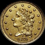 1839-C Ngc AU58 $2.50 Classic Head Gold