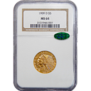 1909-D Ngc/Cac MS64 $5 Indian Gold