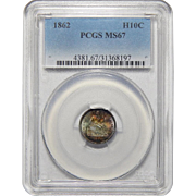 1862 Pcgs MS67 Liberty Seated Half Dime