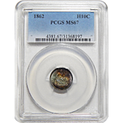 1862 Pcgs MS67 Seated Liberty Half Dime