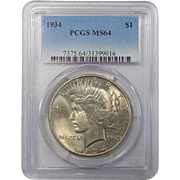 1934 Pcgs MS64 Peace Dollar