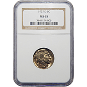 1937-D Ngc MS65 Buffalo Nickel