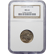 1913-D Ngc MS64 Type 2 Buffalo Nickel