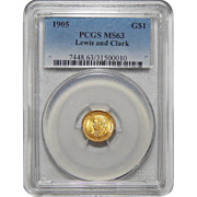1905 Pcgs MS63 $1 Lewis and Clark Gold
