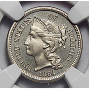 1884 Ngc PF65 Three-Cent Copper Nickel