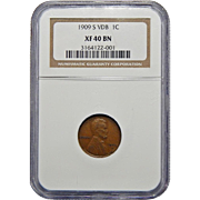 1909-S VDB Ngc XF40BN Lincoln Wheat Cent