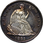 1891 Ngc PF66 Liberty Seated Half Dollar