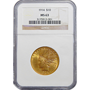 1914 Ngc MS63 $10 Indian Gold
