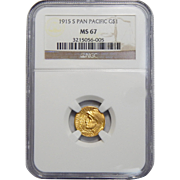 1915-S Ngc MS67 $1 Panama-Pacific Gold