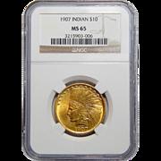 1907 Ngc MS65 No Motto $10 Indian Gold