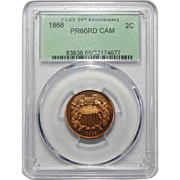1868 Pcgs PR66CAM Two-Cent
