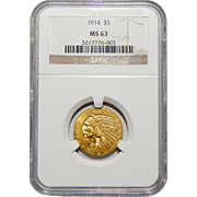 1914 Ngc MS63 $5 Indian Gold