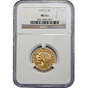 1913-S Ngc MS61 $5 Indian Gold
