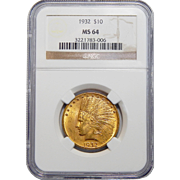 1932 Ngc MS64 $10 Indian Gold
