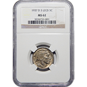 1937-D 3 Legs Ngc MS62 Buffalo Nickel