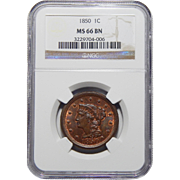1850 Ngc MS66BN Braided Hair Large Cent