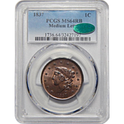 1837 Pcgs/Cac MS64RB Medium Letters Coronet Head Large