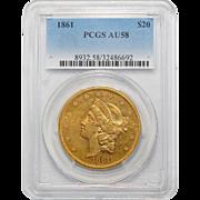 1861 Pcgs AU58 $20 Liberty Head Gold