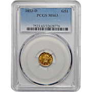 1853-D Pcgs MS63 $1 Gold