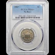 1867 Pcgs PR66+ No Rays Shield Nickel