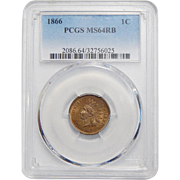 1866 Pcgs MS64RB Indian Head Cent