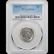 1917-S Pcgs MS64 Buffalo Nickel