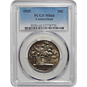 1935 Pcgs MS64 Connecticut Half Dollar