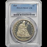 1869 Pcgs PR64CAM Liberty Seated Dollar