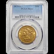 1879-S Pcgs MS62 $10 Liberty Head Gold