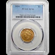 1854 Pcgs XF40 $3 Gold
