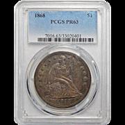 1868 Pcgs PR63 Liberty Seated Dollar