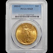 1915-S Pcgs MS65 $20 St Gauden