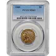 1909 Pcgs MS63 $5 Indian Gold