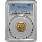 1910 Pcgs MS64 $2.50 Indian Gold
