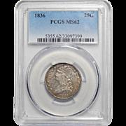 1836 Pcgs MS62 Capped Bust Quarter