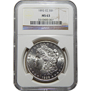 1892-CC Ngc MS63 Morgan Dollar
