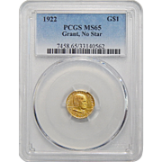 1922 Pcgs MS65 $1 Gold Grant, No Star