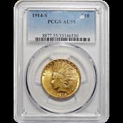 1914-S Pcgs AU55 $10 Indian Gold