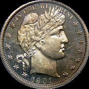 1901 Pcgs PR66 Barber Half Dollar