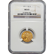 1911 Ngc MS65 $2.50 Indian Gold