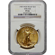 1907 Ngc PF66 $20 High Relief-Wire Edge St. Gaudens Gold