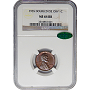 1955 Ngc/Cac MS64RB Doubled Die Obverse Lincoln Wheat Cent