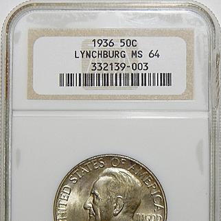 1936 Ngc MS64 Lynchburg Half Dollar