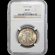 1929-D Ngc MS65 Walking Liberty Half Dollar