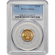 1878 Pcgs MS63 $2.50 Liberty Head Gold