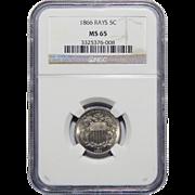 1866 Ngc MS65 Shield Nickel w/ Rays