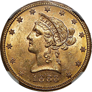 1883 Ngc MS63 $10 Liberty Head Gold