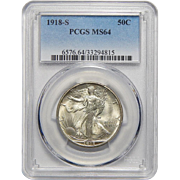 1918-S Pcgs MS64 Walking Liberty Half Dollar