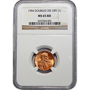 1984 Ngc MS65RD Doubled Die Obverse Lincoln Memorial Cent