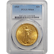 1915 Pcgs MS64 $20 St Gauden
